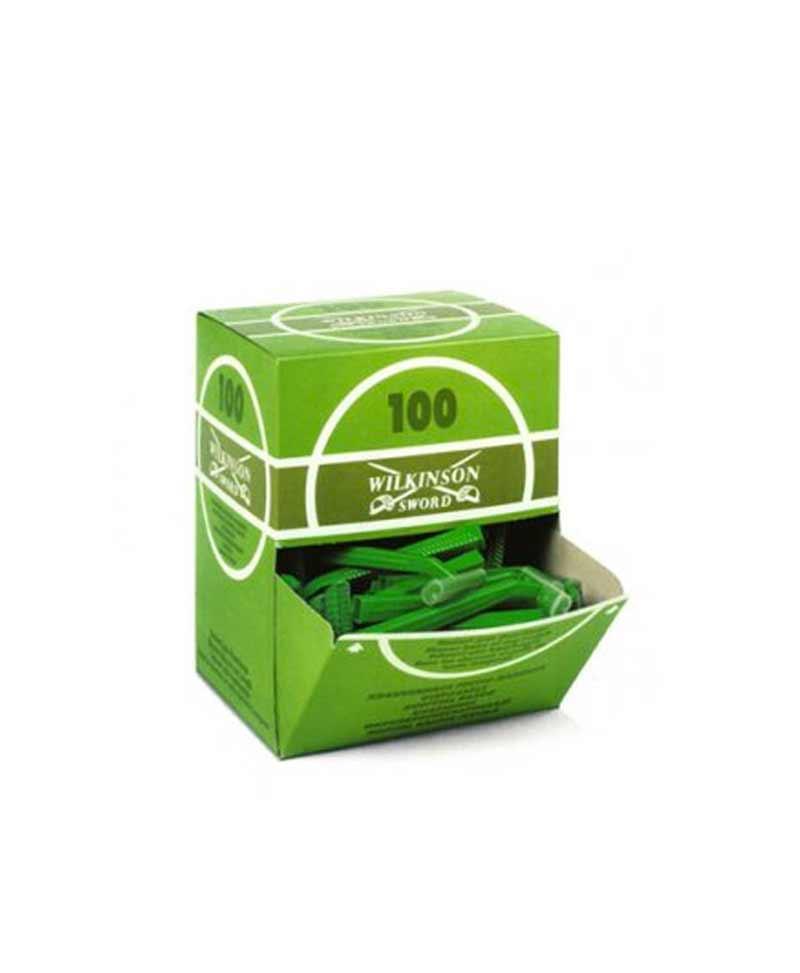 Maquinillas desechables para rasurar - Caja de 100 cuchillas de rasurar desechables con mango de plástico.