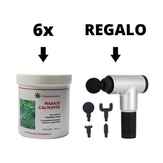 Promoción 6 Cremas Cannabis 1L Cibelesthetic  + Regalo Pistola de Masaje