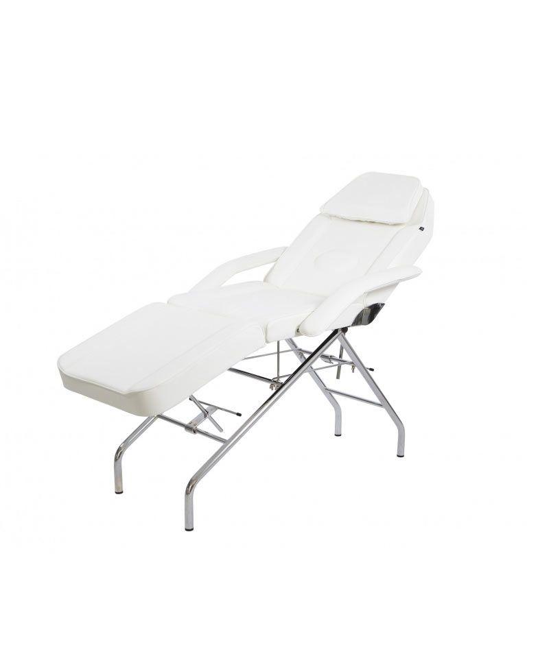 camilla con estructura cromada ideal para masajes en spa