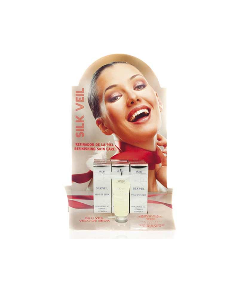 Tratamiento refinador de la piel a base de siliconas previo al maquillaje. Actúa creando una red tridimensional porosa que rellena los poros de la piel alisándola.