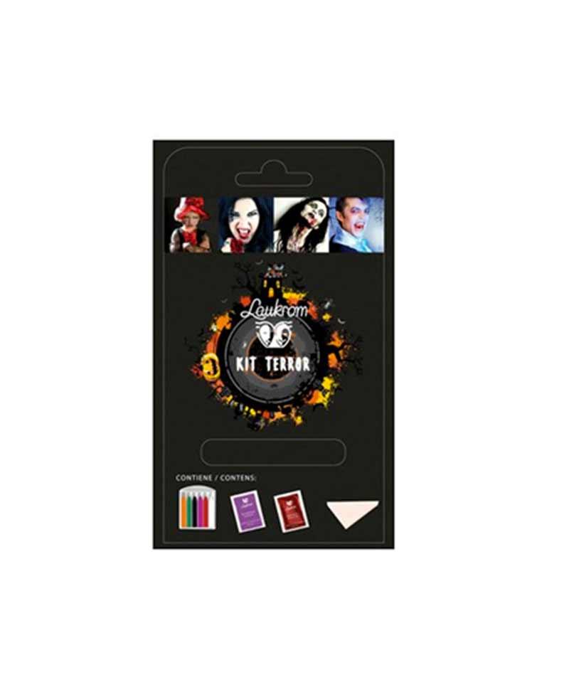 Kit para realizar maquillaje de terror ideal para halloween, incluye, 6 barras de colores, 1 sachette de gel de lentejuelas y 2 sachettes de sangre artificial.