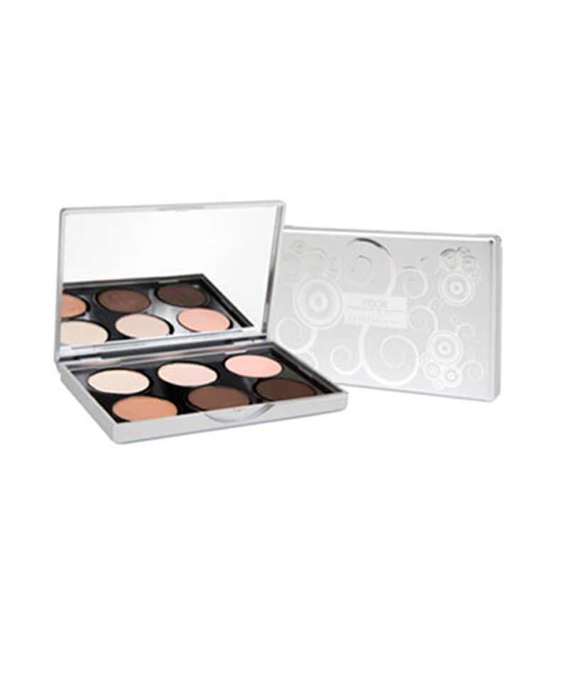 Paleta Nude de 6 colores de sombra de ojos en tonos tierra.