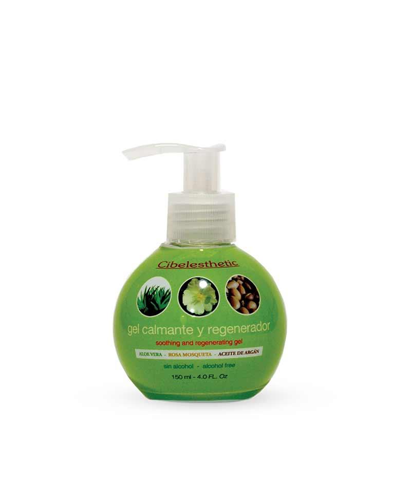 Gel calmante regenerador con Aloe vera, rosa mosqueta y aceite de argán. Ideal post-depilación